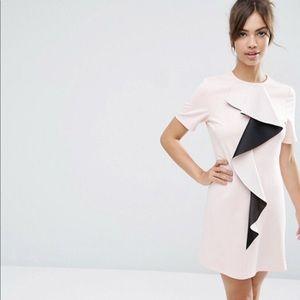 ASOS Frill Detail Shift Dress, lt pink sz 12